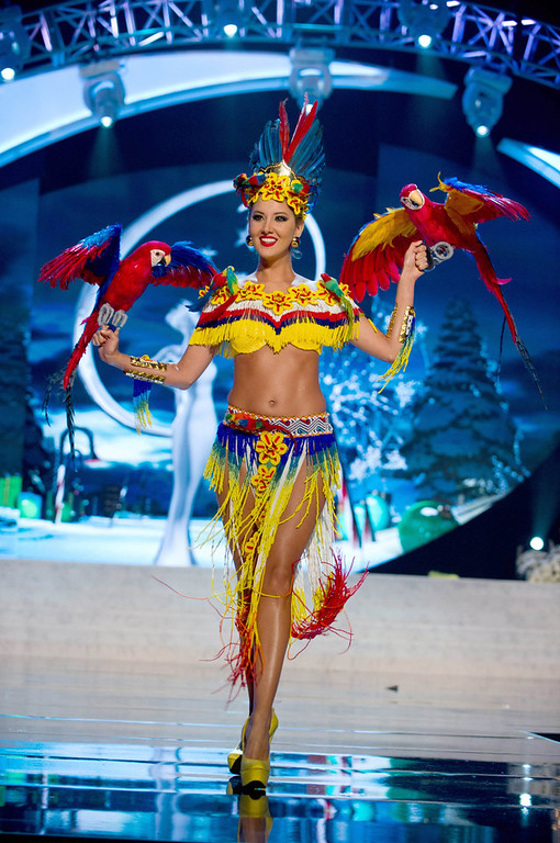 Description of . Miss Colombia Daniella Alvarez Vasquez performs onstage at the 2012 Miss Universe National Costume Show at PH Live in Las Vegas, Nevada December 14, 2012. The 89 Miss Universe contestants will compete for the Diamond Nexus Crown on December 19, 2012. REUTERS/Darren Decker/Miss Universe Organization L.P./Handout