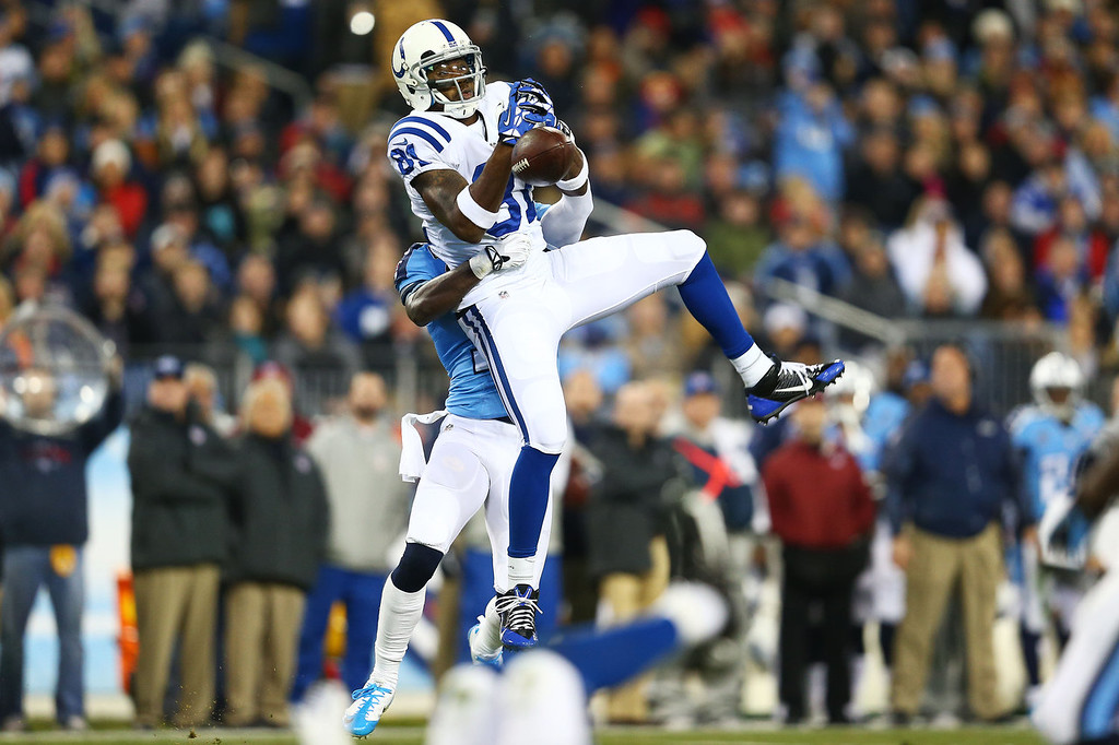 Description of . Darrius Heyward-Bey #81 of the Indianapolis Colts fails to catch a second quarter pass against the defense of the Tennessee Titans at LP Field on November 14, 2013 in Nashville, Tennessee.  (Photo by Andy Lyons/Getty Images)