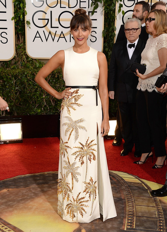 Description of . Actress Rashida Jones attends the 71st Annual Golden Globe Awards held at The Beverly Hilton Hotel on January 12, 2014 in Beverly Hills, California.  (Photo by Jason Merritt/Getty Images)