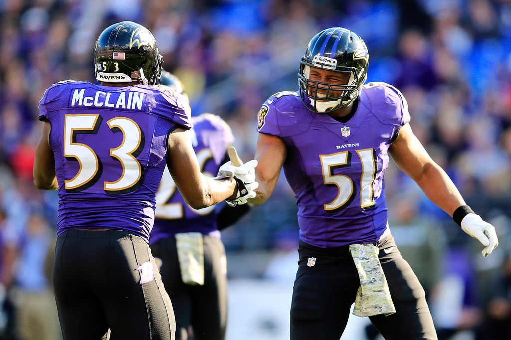Description of . Jameel McClain #53 and  Daryl Smith #51 of the Baltimore Ravens celebrate a defensive play against the Cincinnati Bengals during the first half at M&T Bank Stadium on November 10, 2013 in Baltimore, Maryland.  (Photo by Rob Carr/Getty Images)