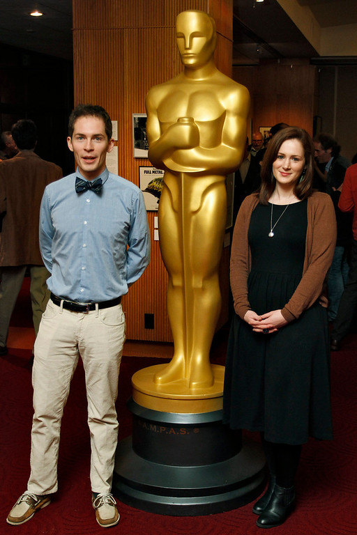 """Description of . Timothy Reckart (L) and Fodhla Cronin O\'Reilly, filmmakers of the Animated Short Film nominee \""""Head Over Heels\"""", arrive at \""""Oscar Celebrates: Shorts,\"""" featuring this year\'s Oscar-nominated films in the Animated and Live-Action Short Film categories, at the Academy of Motion Picture Arts and Sciences in Beverly Hills, California, February 19, 2013. REUTERS/Jonathan Alcorn"""