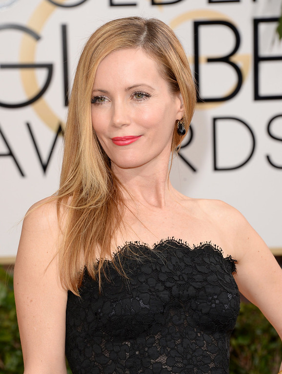Description of . Actress Leslie Mann attends the 71st Annual Golden Globe Awards held at The Beverly Hilton Hotel on January 12, 2014 in Beverly Hills, California.  (Photo by Jason Merritt/Getty Images)