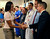 First Lady Michelle Obama shook hands with Dr. James Denton Saturday during a visit to the Medical Center of Aurora. Obama talked with doctors, nurses and other hospital staff members during a visit to the hospital  Saturday afternoon, August 11, 2012. Dr. Denton was one of several surgeons who responded to the dozens of victims brought to the hospital following the Aurora theater shooting in July. Karl Gehring/The Denver Post
