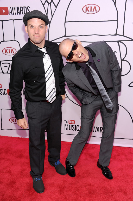Description of . Lloyd 'EpicLLOYD' Ahlquist (L) and Peter 'Nice Peter' Shukoff of Epic Rap Battles of Histor attend the YouTube Music Awards 2013 on November 3, 2013 in New York City.  (Photo by Dimitrios Kambouris/Getty Images)