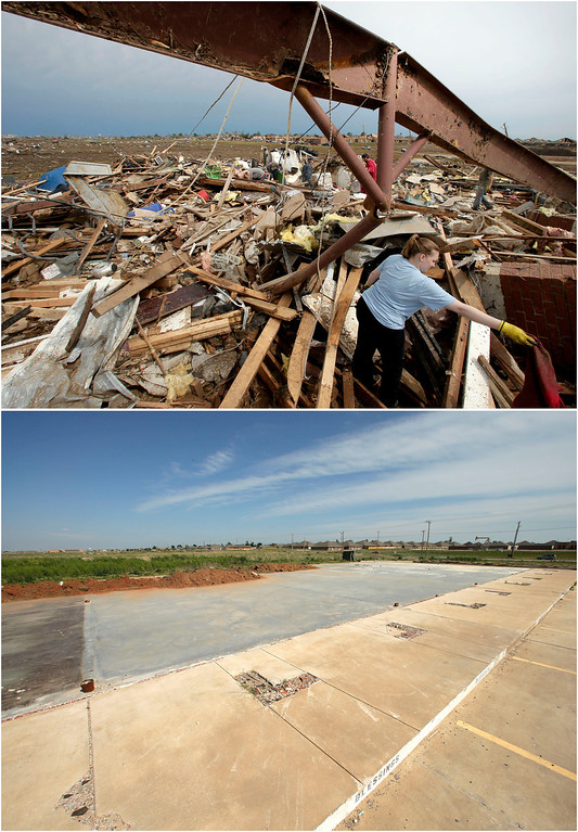 Description of . In this photo combination, Katie Thomas sorts through debris at a friend's tornado-ravaged daycare on May 21, 2013, in Moore, Okla., top. A concrete slab is all that remains of the shopping center that contained the daycare on May, 8, 2014, bottom. (AP Photo/Charlie Riedel)