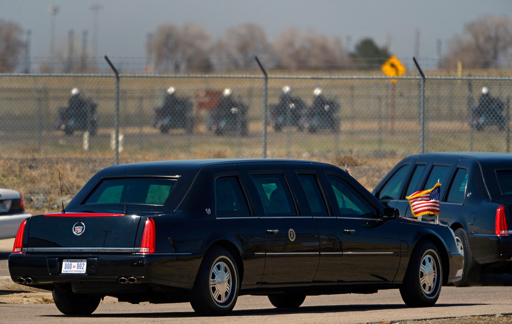 Description of . AURORA, CO- APRIL 3: President Barack Obama heads towards Denver in his limo after arriving  in Aurora, CO aboard Air Force One at Buckley Air Force Base  on April 3, 2013. The president traveled to Colorado to meet with local law enforcement officials and community leaders to discuss the new gun control measures that the state has put in place including loopholes in the back round check system. (Photo By Helen H. Richardson/ The Denver Post)