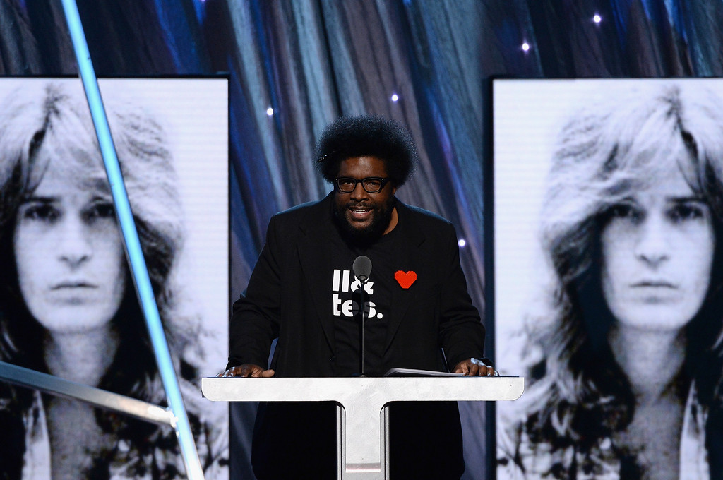 Description of . Musician Questlove speaks onstage at the 29th Annual Rock And Roll Hall Of Fame Induction Ceremony at Barclays Center of Brooklyn on April 10, 2014 in New York City.  (Photo by Larry Busacca/Getty Images)