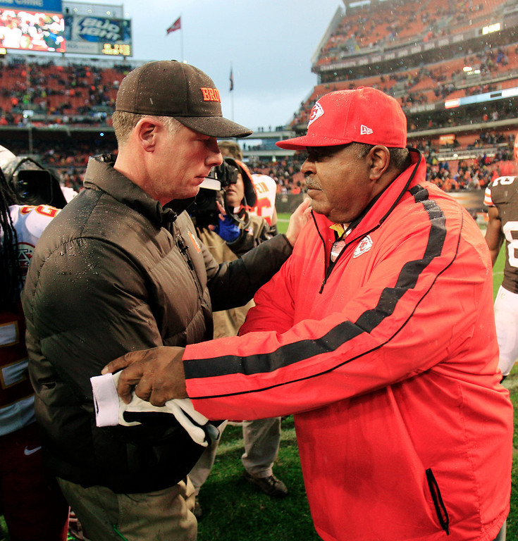 Description of . Cleveland Browns head coach Pat Shurmur, left, shakes hands with Kansas City Chiefs head coach Romeo Crennel after the Browns\' 30-7 win in an NFL football game, Sunday, Dec. 9, 2012, in Cleveland. (AP Photo/Tony Dejak)
