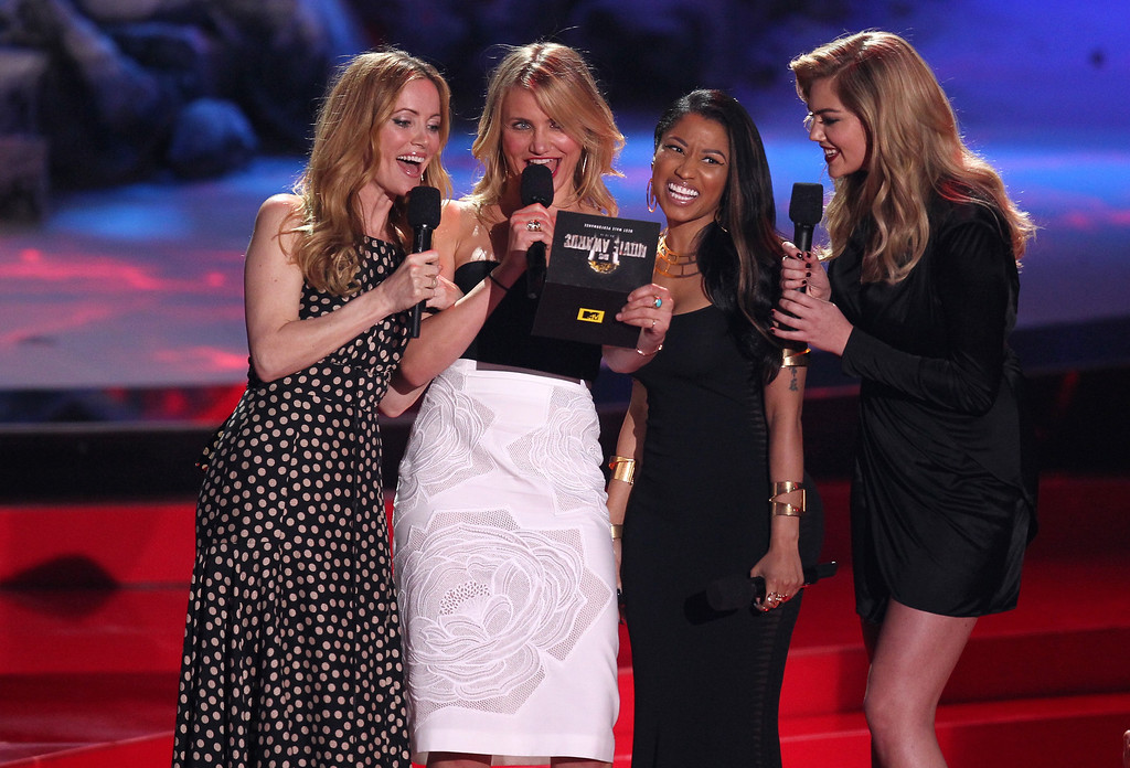 Description of . From left, Leslie Mann, Cameron Diaz, Nicki Minaj and Kate Upton present the award for best male performance on stage at the MTV Movie Awards on Sunday, April 13, 2014, at Nokia Theatre in Los Angeles. (Photo by Matt Sayles/Invision/AP)