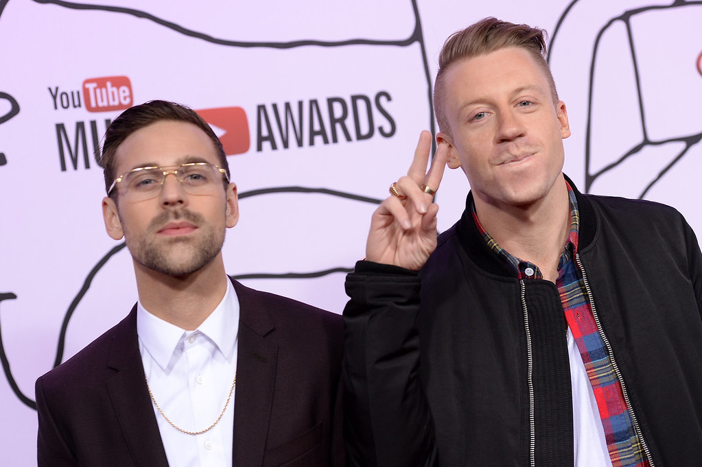 Description of . Ryan Lewis (L) and Macklemore attend the YouTube Music Awards 2013 on November 3, 2013 in New York City.  (Photo by Dimitrios Kambouris/Getty Images)
