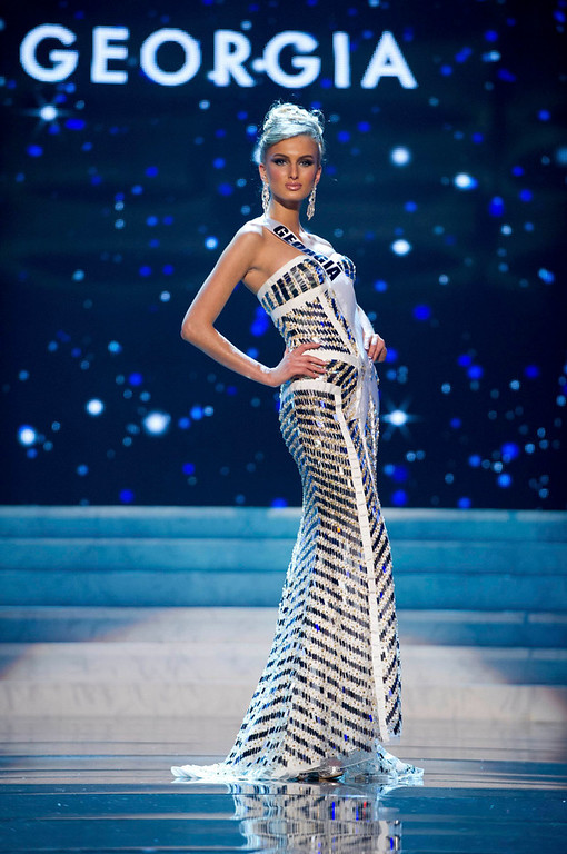 Description of . Miss Georgia 2012 Tamar Shedania competes in an evening gown of her choice during the Evening Gown Competition of the 2012 Miss Universe Presentation Show in Las Vegas, Nevada, December 13, 2012. The Miss Universe 2012 pageant will be held on December 19 at the Planet Hollywood Resort and Casino in Las Vegas. REUTERS/Darren Decker/Miss Universe Organization L.P/Handout