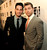 Model Michael Turchin (L) and singer Lance Bass arrive at 