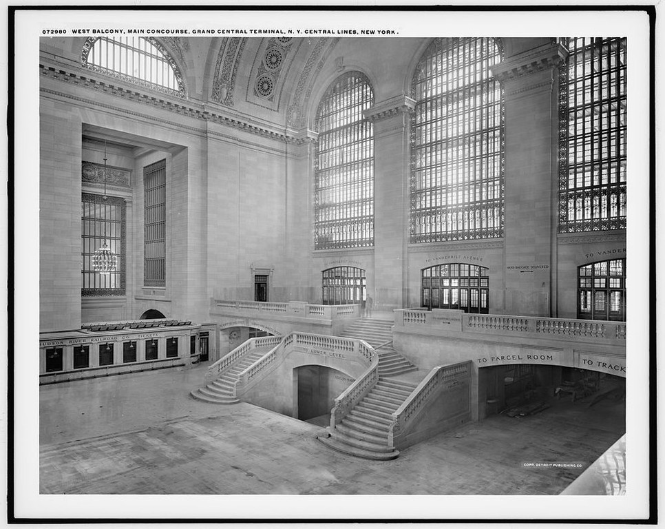 Description of . A view of the west balcony in Grand Central Station in New York in this photo taken between 1913-1930. It made its debut in the heyday of cross-country train travel, faced demolition in the era of the auto, and got a new lease on life with a facelift in its eighth decade. Now Grand Central Terminal, the doyenne of American train stations, is celebrating its 100th birthday. Opened on Feb. 2, 1913, when trains were a luxurious means of traveling across America, the iconic New York landmark with its Beaux-Arts facade is an architectural gem, and still one of America's greatest transportation hubs. REUTERS/Courtesy of the Library of Congress/Handout