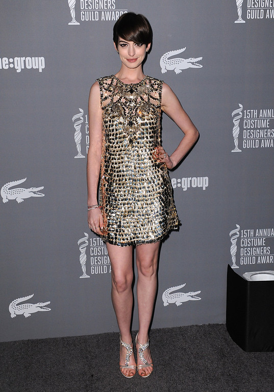 Description of . Anne Hathaway arrives at the 15th Annual Costume Designers Guild Awards at The Beverly Hilton Hotel on Tuesday, Feb. 19, 2013 in Beverly Hills. (Photo by Jordan Strauss/Invision/AP)