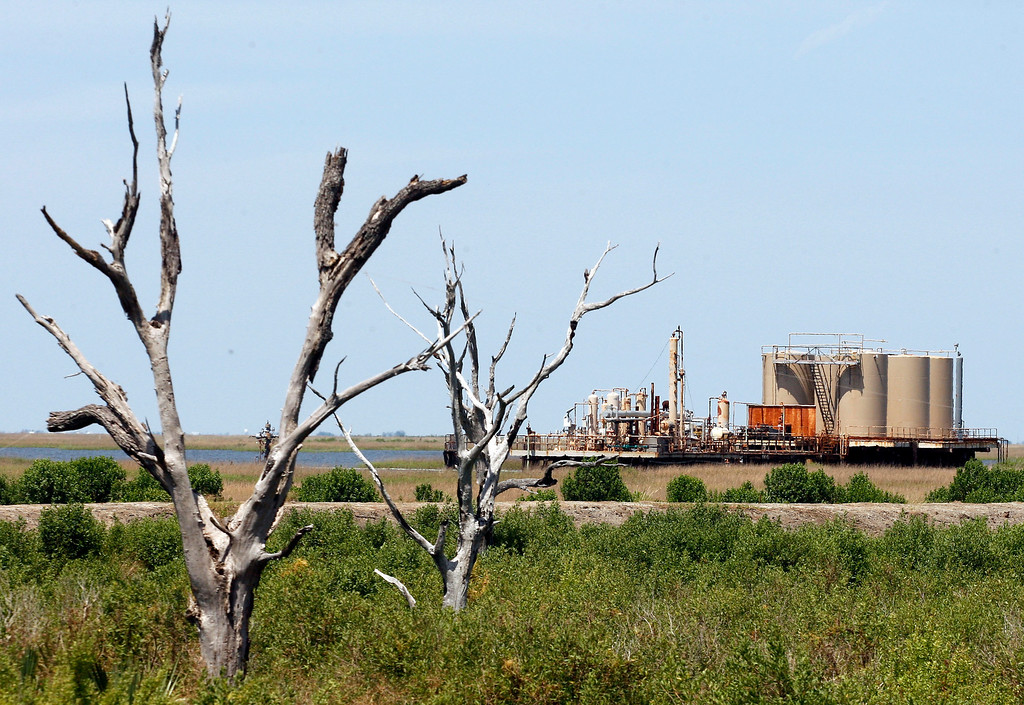 Description of . In this May 10, 2010 photo, an oil facility stands past dead trees on Isle de Jean Charles, La.   (AP Photo/Patrick Semansky, File)