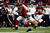 Wide receiver Julio Jones #11 of the Atlanta Falcons runs after a catch as inside linebacker Patrick Willis #52 of the San Francisco 49ers attempts to tackle Jones in the first quarter in the NFC Championship game at the Georgia Dome on January 20, 2013 in Atlanta, Georgia.  (Photo by Chris Graythen/Getty Images)