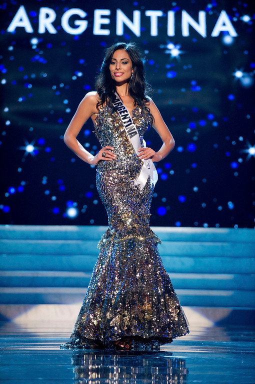 Description of . Miss Argentina 2012 Camila Solorzano competes in an evening gown of her choiceduring the Evening Gown Competition of the 2012 Miss Universe Presentation Show in Las Vegas, Nevada, December 13, 2012. The Miss Universe 2012 pageant will be held on December 19 at the Planet Hollywood Resort and Casino in Las Vegas. REUTERS/Darren Decker/Miss Universe Organization L.P/Handout