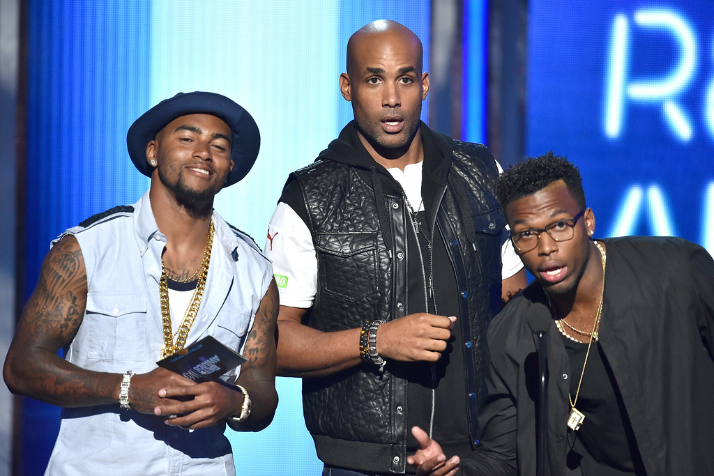 Description of . LOS ANGELES, CA - JUNE 29:  (L-R) Football player DeSean Jackson, actor Boris Kodjoe, and soccer player Daniel Sturridge speak onstage during the BET AWARDS '14 at Nokia Theatre L.A. LIVE on June 29, 2014 in Los Angeles, California.  (Photo by Kevin Winter/Getty Images for BET)