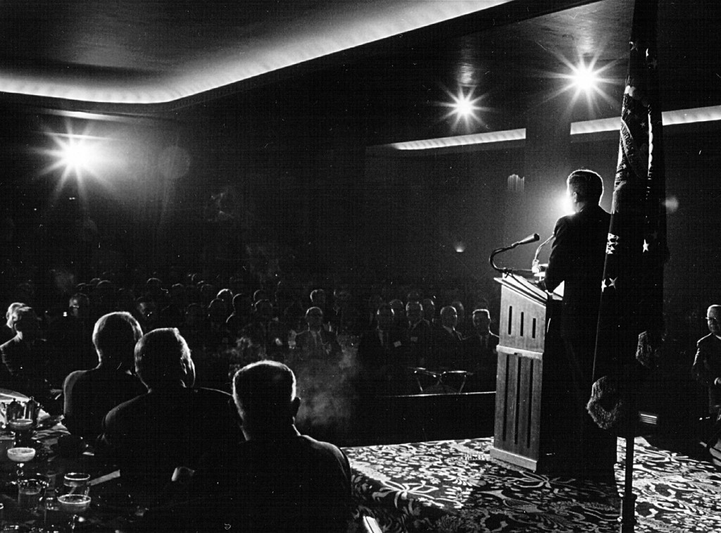 Description of . President Kennedy speaks May 9, 1963, at a ceremony in Washington. National Archive/Newsmakers