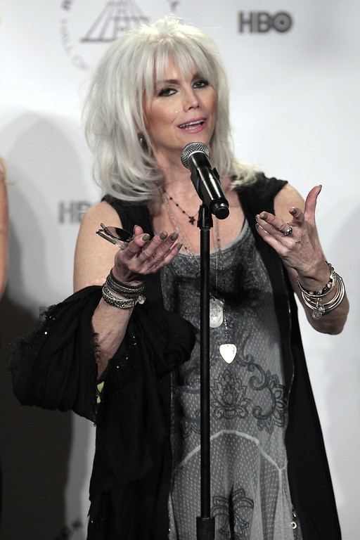 Description of . Emmylou Harris appears in the press room at the 2014 Rock and Roll Hall of Fame Induction Ceremony on Thursday, April, 10, 2014, in New York. (Photo by Andy Kropa/Invision/AP)