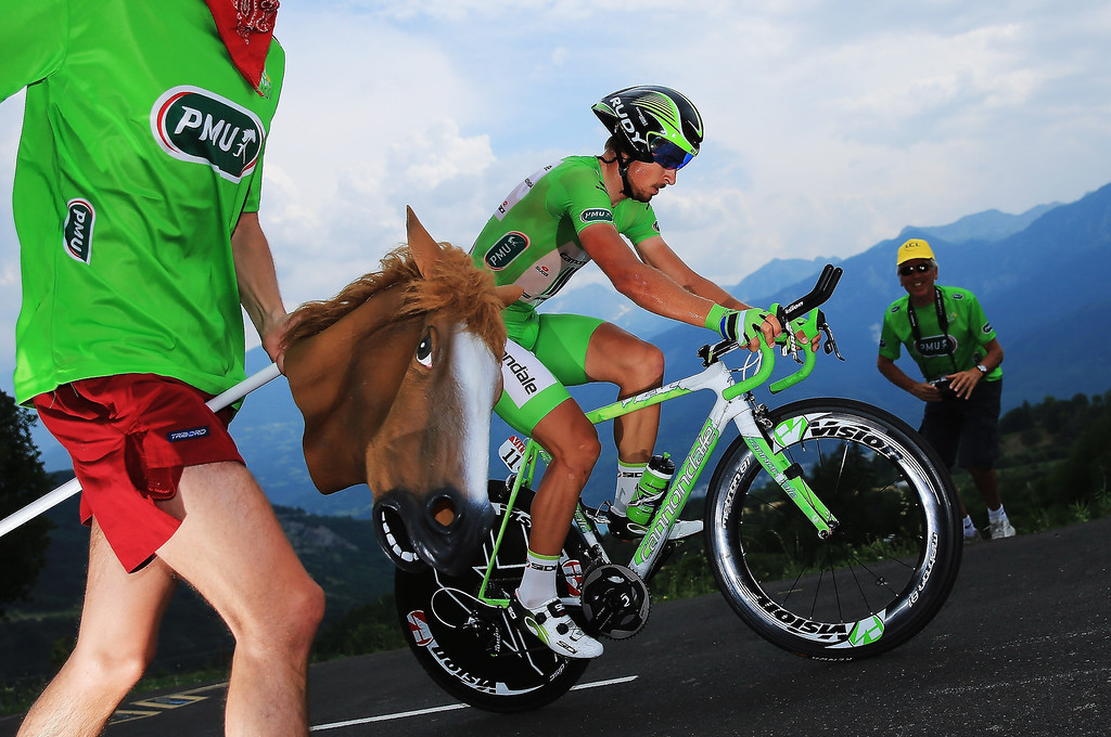 Description of . Peter Sagan of Slovakia and Team Cannondale rides during stage seventeen of the 2013 Tour de France, a 32KM Individual Time Trial from Embrun to Chorges, on July 17, 2013 in Chorges, France.  (Photo by Doug Pensinger/Getty Images)