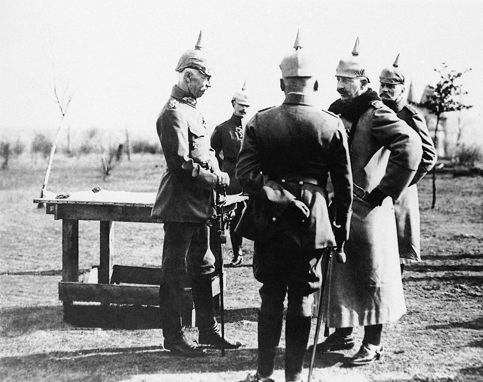 Description of . German officers discussing troop movements, near the Western Front. (AP Photo)