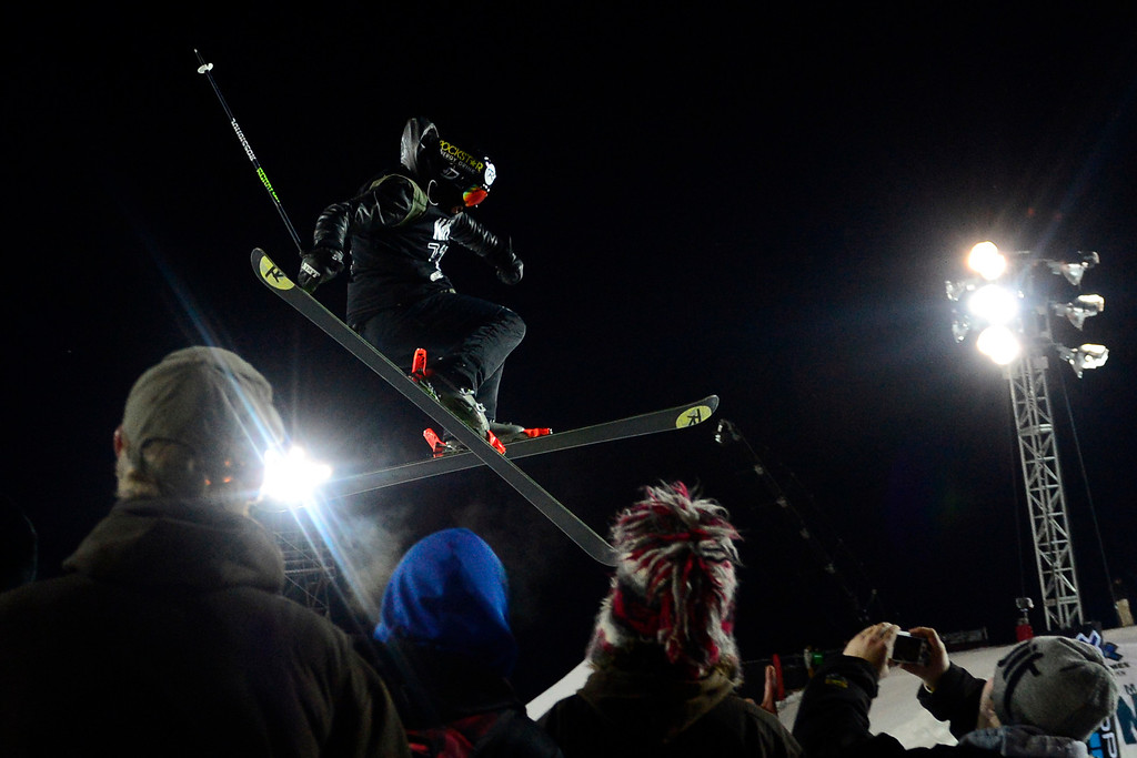 Description of . ASPEN, CO. - JANUARY 24: Joffrey Pollet-Villard grabs air during the men\'s ski superpipe final. X Games Aspen Buettermilk Mountain Aspen January 25, 2013 (Photo By AAron Ontiveroz / The Denver Post)