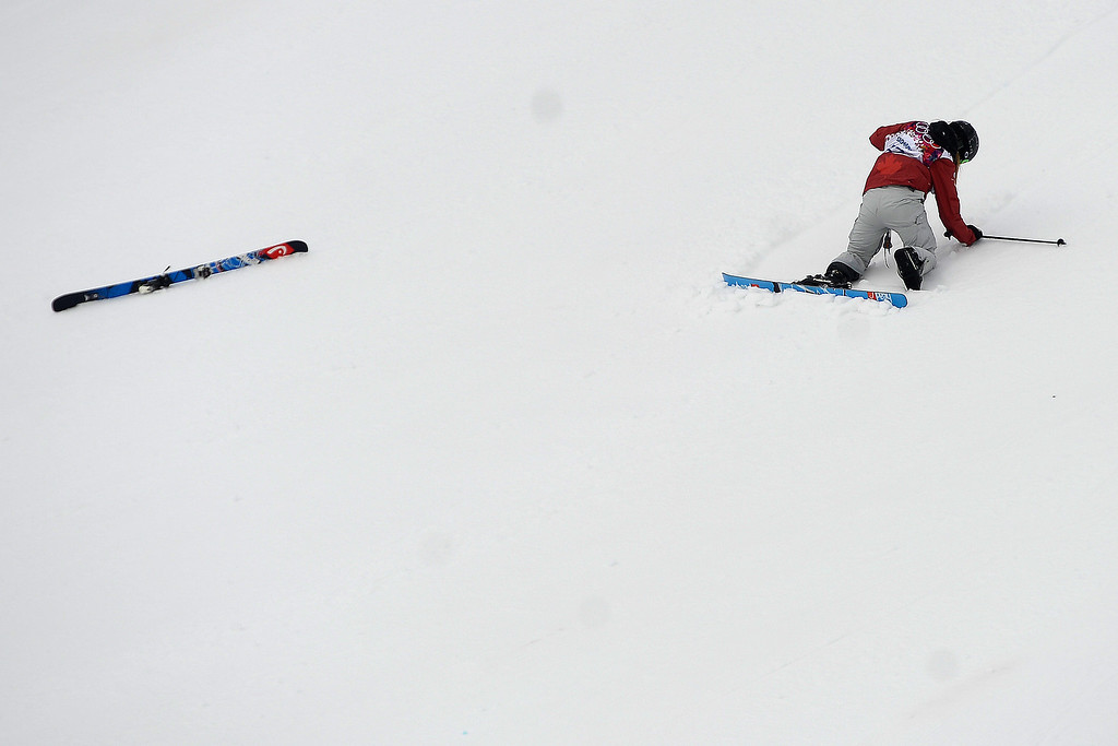 Description of . Keri Herman of the United States takes a jump during the women\'s freestyle skiing slopestyle final at the Rosa Khutor Extreme Park, at the 2014 Winter Olympics, Tuesday, Feb. 11, 2014, in Krasnaya Polyana, Russia. (AP Photo/Sergei Grits)