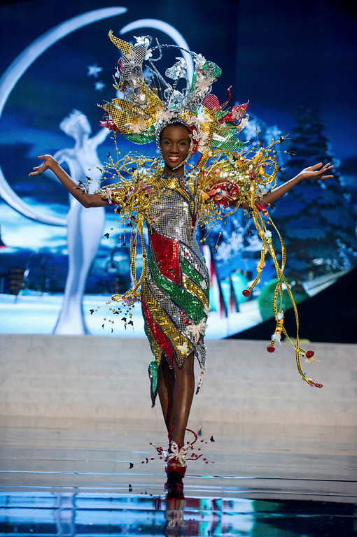 Description of . Miss Guyana Ruqayyah Boyer performs onstage at the 2012 Miss Universe National Costume Show at PH Live in Las Vegas, Nevada December 14, 2012. The 89 Miss Universe contestants will compete for the Diamond Nexus Crown on December 19, 2012. REUTERS/Darren Decker/Miss Universe Organization L.P./Handout