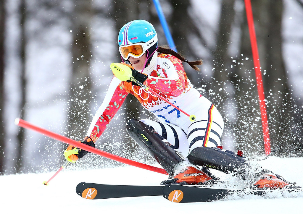 Description of . Christina Geiger of Germany in action during the first run of the Women's Slalom race at the Rosa Khutor Alpine Center during the Sochi 2014 Olympic Games, Krasnaya Polyana, Russia, 21 February 2014.  EPA/MICHAEL KAPPELER