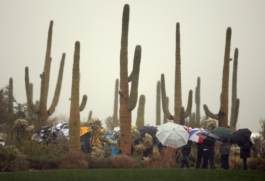 Description of . MARANA, AZ - FEBRUARY 20:  Fans walk off the course under umbrellas as play was suspended due to snow and rain during the first round of the World Golf Championships - Accenture Match Play at the Golf Club at Dove Mountain on February 20, 2013 in Marana, Arizona.  (Photo by Darren Carroll/Getty Images)