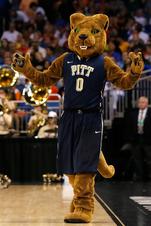 Description of . The Pittsburgh Panthers mascot on the court in the second half as the Panthers take on the Florida Gators during the third round of the 2014 NCAA Men's Basketball Tournament at Amway Center on March 22, 2014 in Orlando, Florida.  (Photo by Kevin C. Cox/Getty Images)