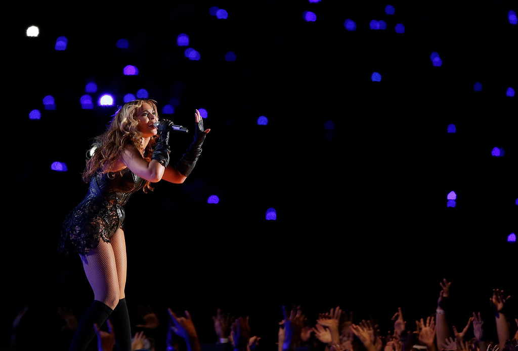 Description of . Beyonce performs during the halftime show of the NFL Super Bowl XLVII football game between the San Francisco 49ers and the Baltimore Ravens, Sunday, Feb. 3, 2013, in New Orleans. (AP Photo/Bill Haber)