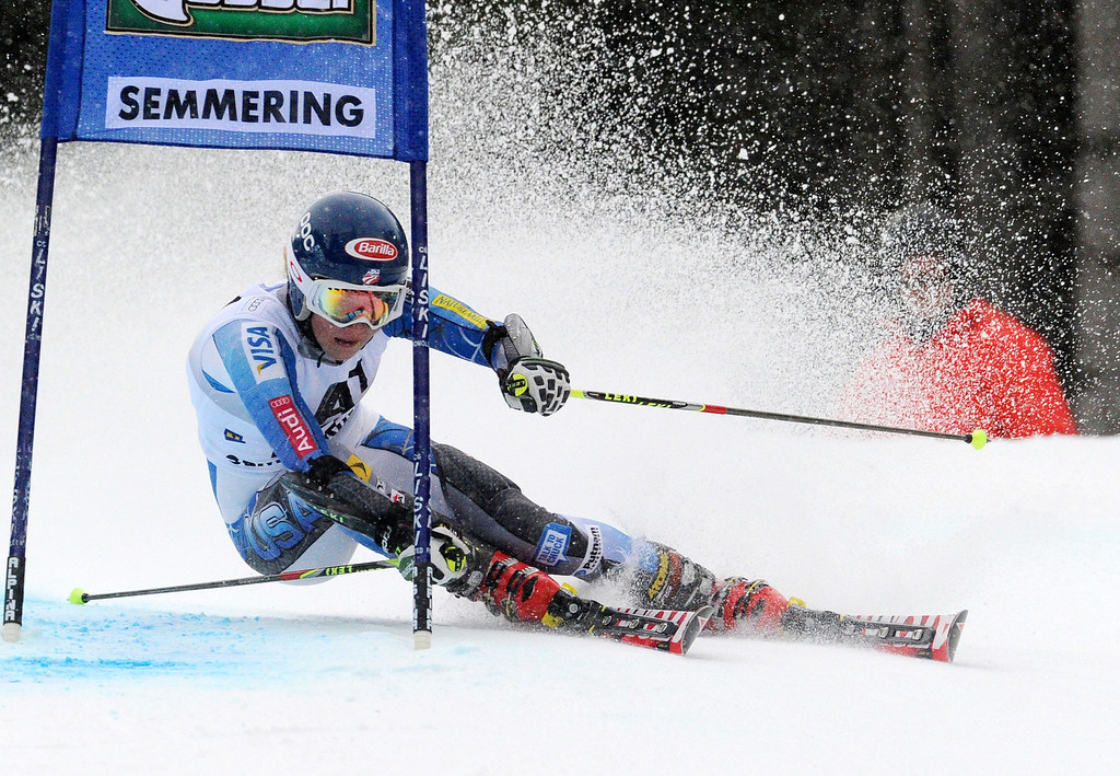 Description of . Eighth placed Mikaela Shiffrin, of the U.S., competes during an alpine ski, women's World Cup giant slalom in Semmering, Austria, Friday, Dec. 28, 2012. (AP Photo/Pier Marco Tacca)