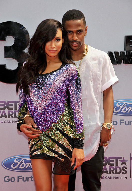 Description of . Naya Rivera, left, and Big Sean arrive at the BET Awards at the Nokia Theatre on Sunday, June 30, 2013, in Los Angeles. (Photo by Chris Pizzello/Invision/AP)