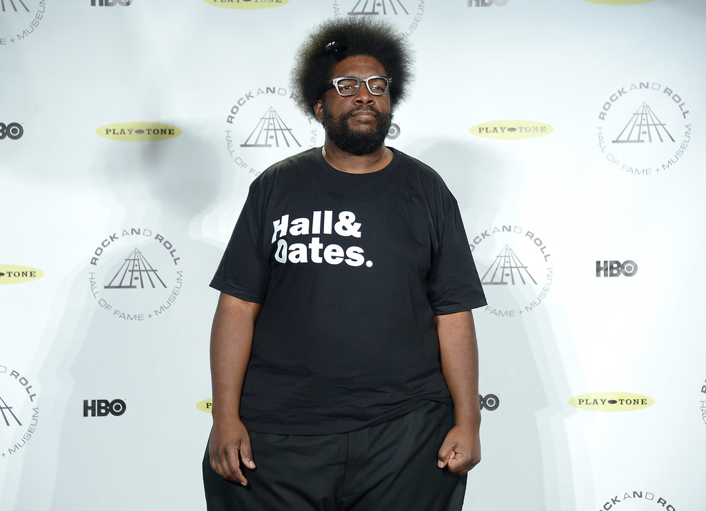 Description of . Musician Questlove attends the 29th Annual Rock And Roll Hall Of Fame Induction Ceremony at Barclays Center of Brooklyn on April 10, 2014 in New York City.  (Photo by Michael Loccisano/Getty Images)
