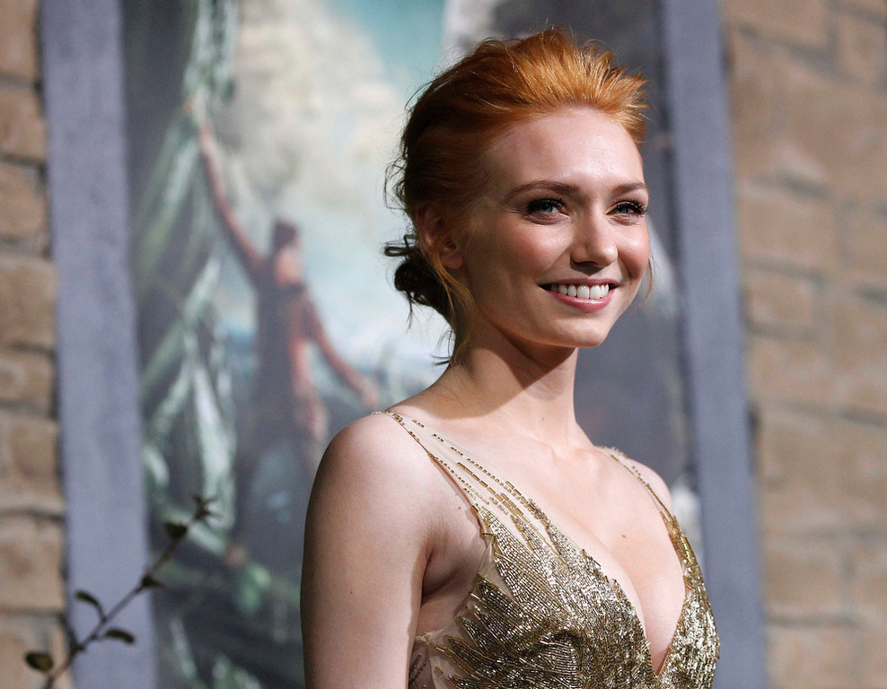 """. Cast member Eleanor Tomlinson poses at the premiere of \""""Jack the Giant Slayer\"""" in Hollywood, California February 26, 2013. The movie opens in the U.S. on March 1.  REUTERS/Mario Anzuoni"""
