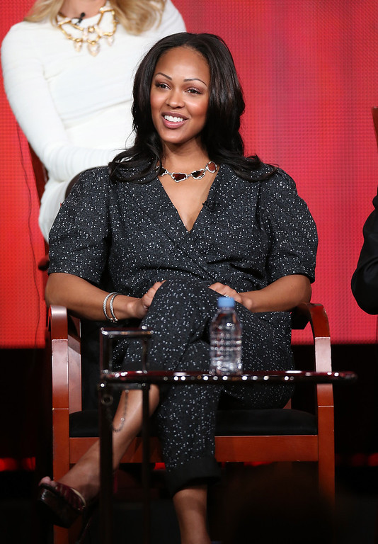 Description of . Actress Meagan Good speaks onstage at the