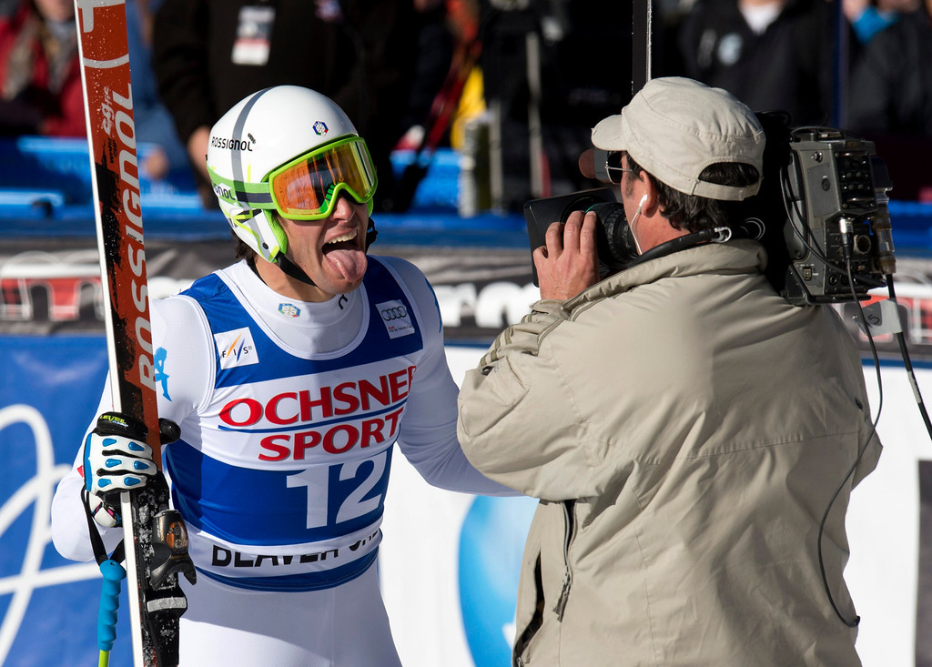 Description of . Matteo Marsaglia of Italy sticks his tongue out at the cameraman after winning the FIS Alpine World Cup men\'s Super G on December 1, 2012 in Beaver Creek, Colorado.     DON EMMERT/AFP/Getty Images