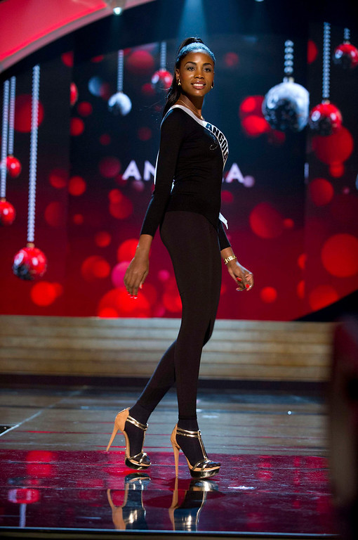 Description of . Miss Angola 2012, Marcelina Vahekeni, rehearses for the 2012 Miss Universe Presentation Show in Las Vegas, Nevada, December 13, 2012.  The Miss Universe 2012 pageant will be held on December 19, 2012 at the Planet Hollywood Resort and Casino in Las Vegas. REUTERS/Darren Decker/Miss Universe Organization L.P/Handout