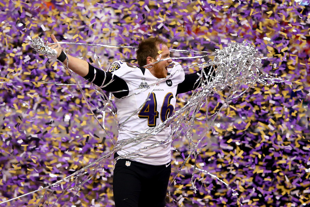 Description of . Morgan Cox #46 of the Baltimore Ravens celebrates after defeating the San Francisco 49ers during Super Bowl XLVII at the Mercedes-Benz Superdome on February 3, 2013 in New Orleans, Louisiana.  (Photo by Al Bello/Getty Images)
