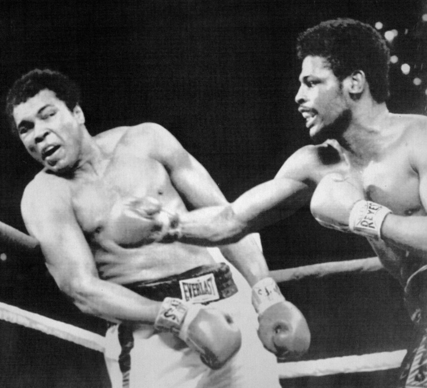 Description of . A Blow To Ali -- Leon Spinks connects with a right hook to Muhammad Ali during the late rounds of their championship fight in Las Vegas, Nev. Wednesday night. The 24-year-old Spinks won the bout in a 15-round decision. 1978. Credit: AP Laserphoto
