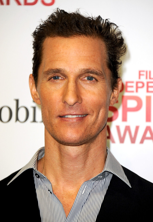 Description of . Matthew McConaughey poses backstage with the award for best supporting male for