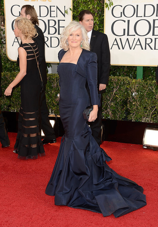 Description of . Actress Glenn Close arrives at the 70th Annual Golden Globe Awards held at The Beverly Hilton Hotel on January 13, 2013 in Beverly Hills, California.  (Photo by Jason Merritt/Getty Images)