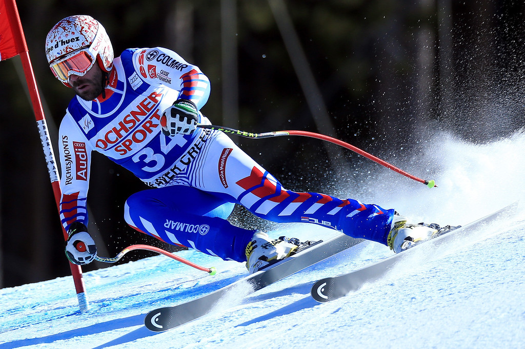 Description of . Gauthier de Tessieres of France skis to eighth place in the men\'s Super G on the Birds of Prey at the Audi FIS World Cup on December 1, 2012 in Beaver Creek, Colorado.  (Photo by Doug Pensinger/Getty Images)