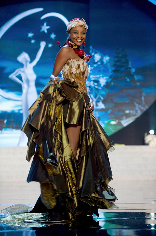 Description of . Miss Namibia Tsakana Nkandih performs onstage at the 2012 Miss Universe National Costume Show at PH Live in Las Vegas, Nevada December 14, 2012. The 89 Miss Universe contestants will compete for the Diamond Nexus Crown on December 19, 2012. REUTERS/Darren Decker/Miss Universe Organization L.P./Handout