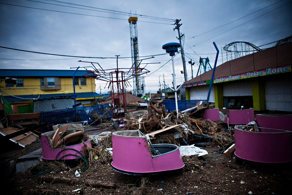 . Damaged rides and debris are strewn across the Keansburg Amusement Park after Superstorm Sandy swept across the region, on November 1, 2012 in Keansburg, New Jersey. Superstorm Sandy, which has left millions without power or water, continues to effect business and daily life throughout much of the eastern seaboard.  (Photo by Andrew Burton/Getty Images)