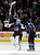DENVER, CO. - JANUARY 24: Colorado Avalanche goalie Semyon Varlamov (1) gets a fist bump from Colorado Avalanche center Matt Duchene (9) after shutting out the Columbus Blue Jackets 4-0 January 24, 2013 at Pepsi Center. The Colorado Avalanche are on a two game win streak. 
