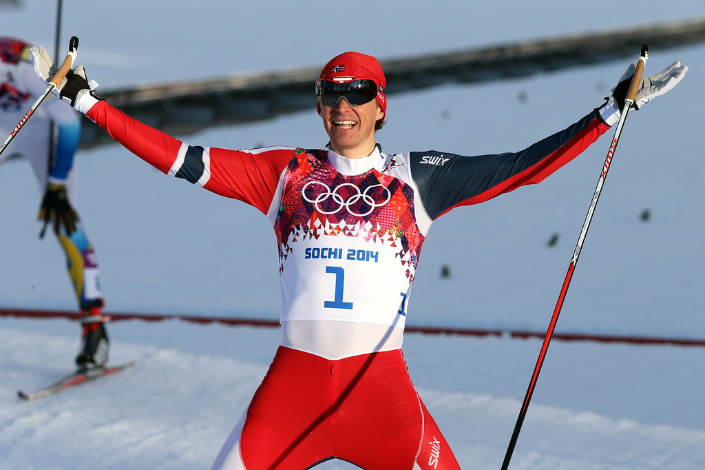Description of . Ola Vigen Hattestad of Norway wins the gold medal during the Cross-Country Men's & Women's Sprint at the Laura Cross-country Ski & Biathlon Center on February 11, 2014 in Sochi, Russia. (Photo by Christophe Pallot/Agence Zoom/Getty Images)