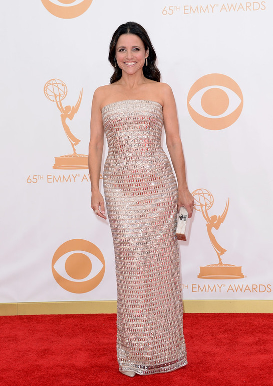 Description of . Actress Julia Louis-Dreyfus arrives at the 65th Annual Primetime Emmy Awards held at Nokia Theatre L.A. Live on September 22, 2013 in Los Angeles, California.  (Photo by Jason Merritt/Getty Images)